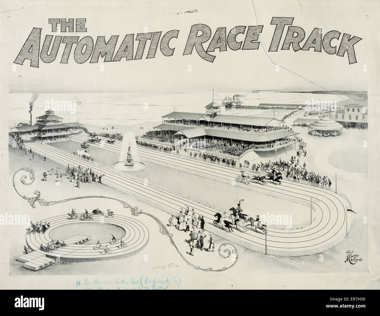 The automatic race track. Date c1896 June 4. - Stock Image