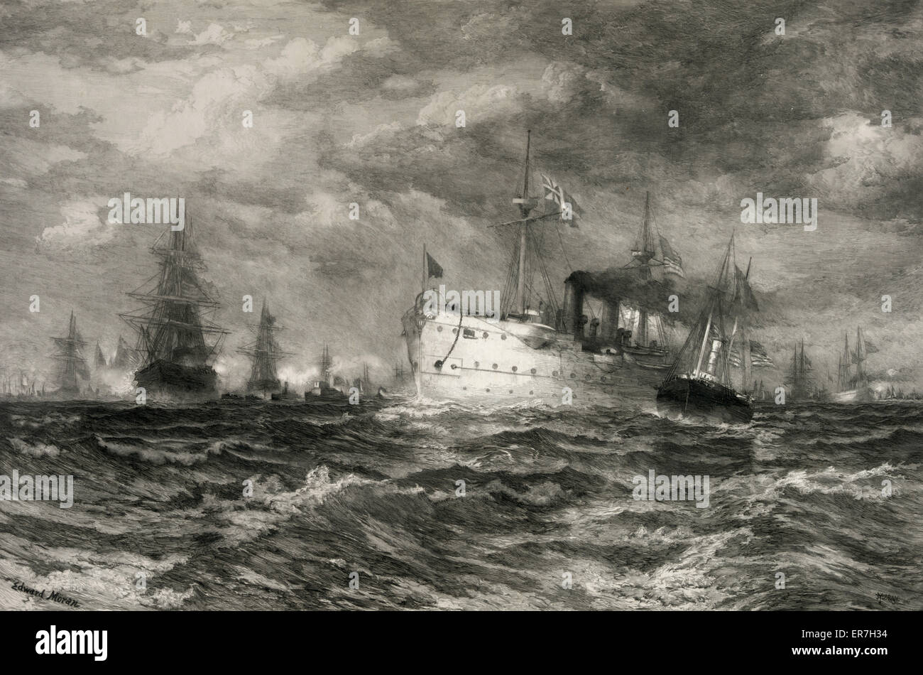 The White Squadron's Farewell Salute to the Body of John Ericsson, New York Bay, August 23, 1890. Date ca. 1900. - Stock Image