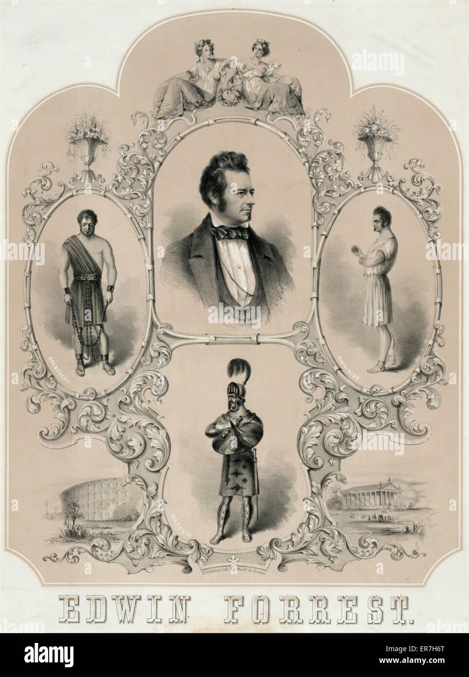 Edwin Forrest. Date c1856 Dec. 6. - Stock Image