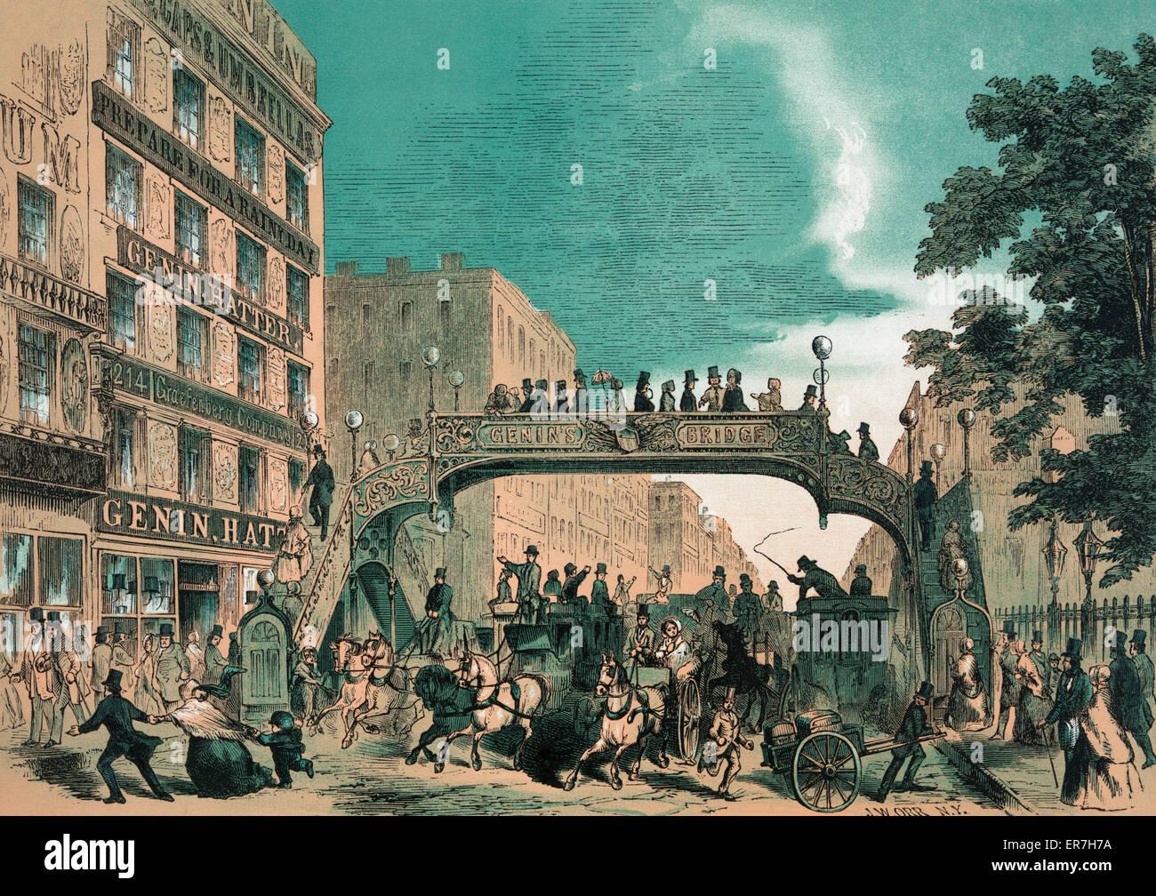 Broadway, N.Y. 1852. Genins new bridge. - Stock Image