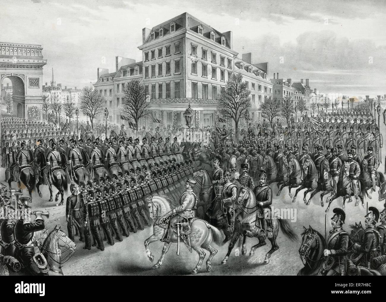 Triumphal entry of the Germans into Paris. Date c1871. - Stock Image