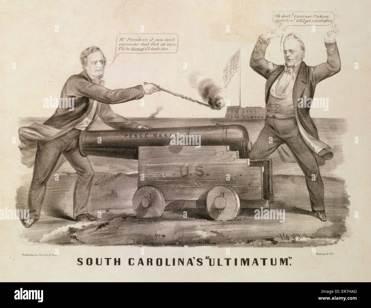 South Carolina's ultimatum. In late December 1860 three commissioners from the newly seceded state of South - Stock Image