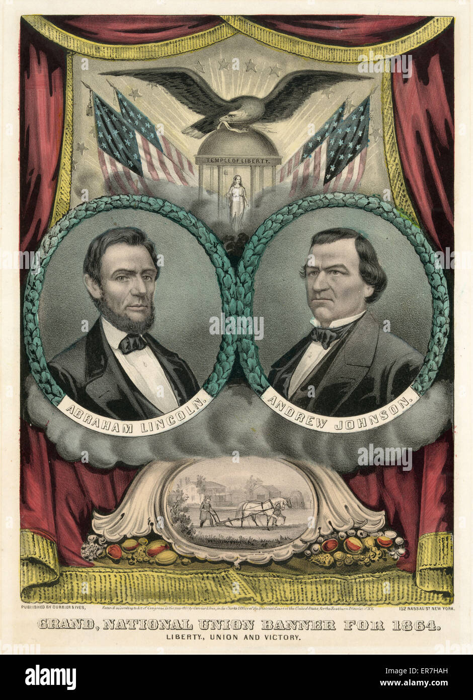 Grand national union banner for 1864. Liberty, union and victory. Print shows a campaign banner for 1864 Republican - Stock Image