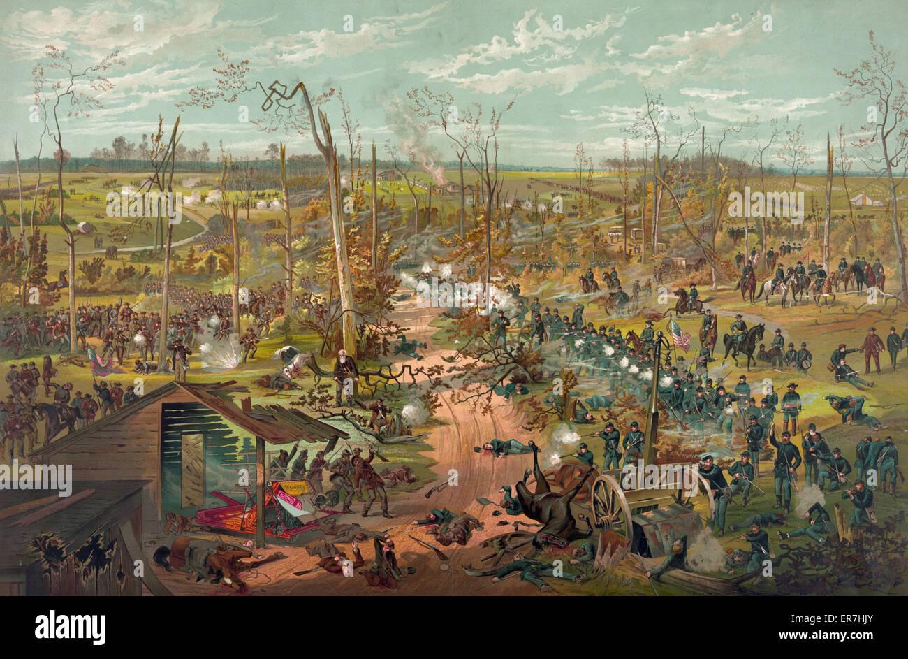 Battle of Shiloh April 6th 1862. Date c1885 Dec. 31. - Stock Image