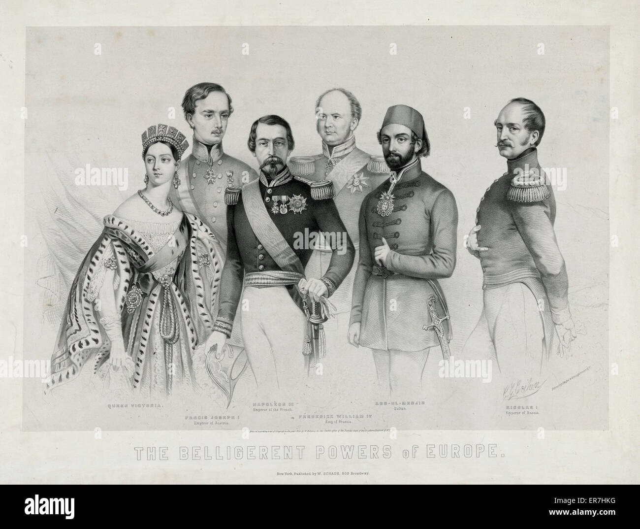The belligerent powers of Europe. Date c1854 April 5. - Stock Image