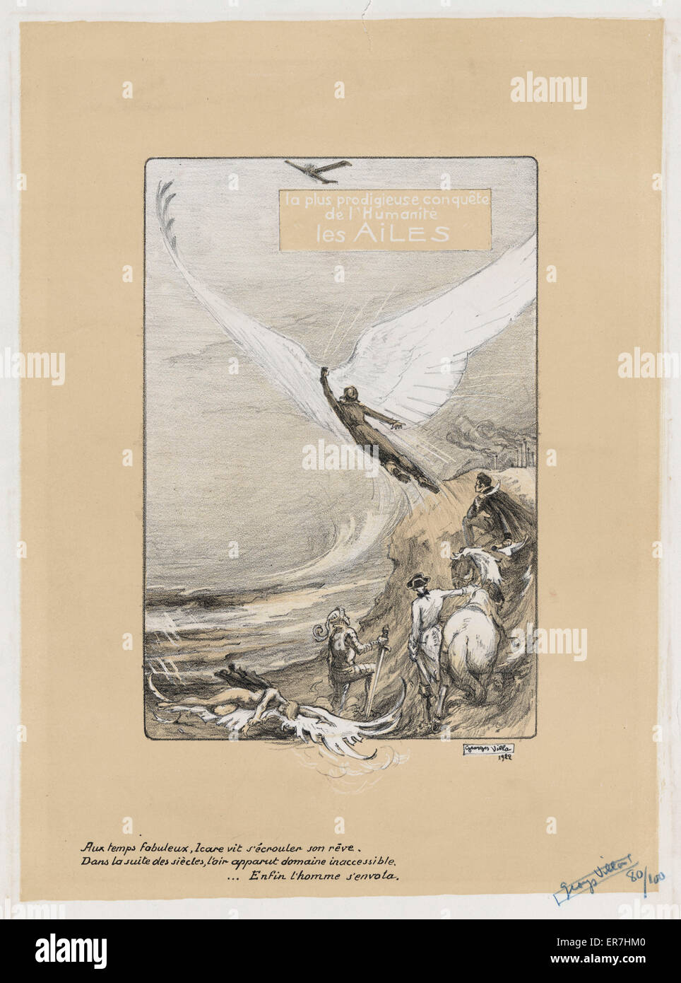 La plus prodigieuse conquete de l'humanite, les ailes. Print shows a fallen winged figure, other figures in - Stock Image
