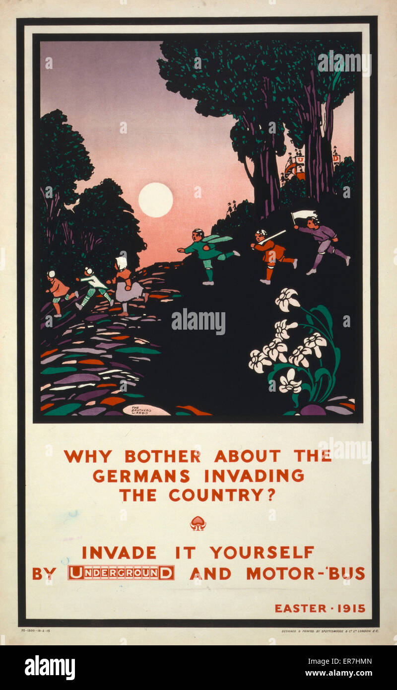 Why bother about the Germans invading the country? Invade it yourself by Underground and motor-'bus. Easter - Stock Image