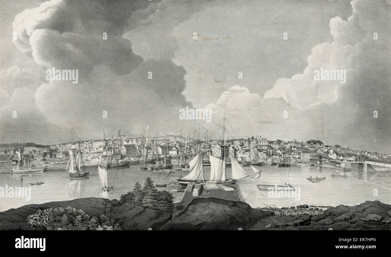 View of the city of Bangor, Me. Date c1835 Oct. 16. - Stock Image