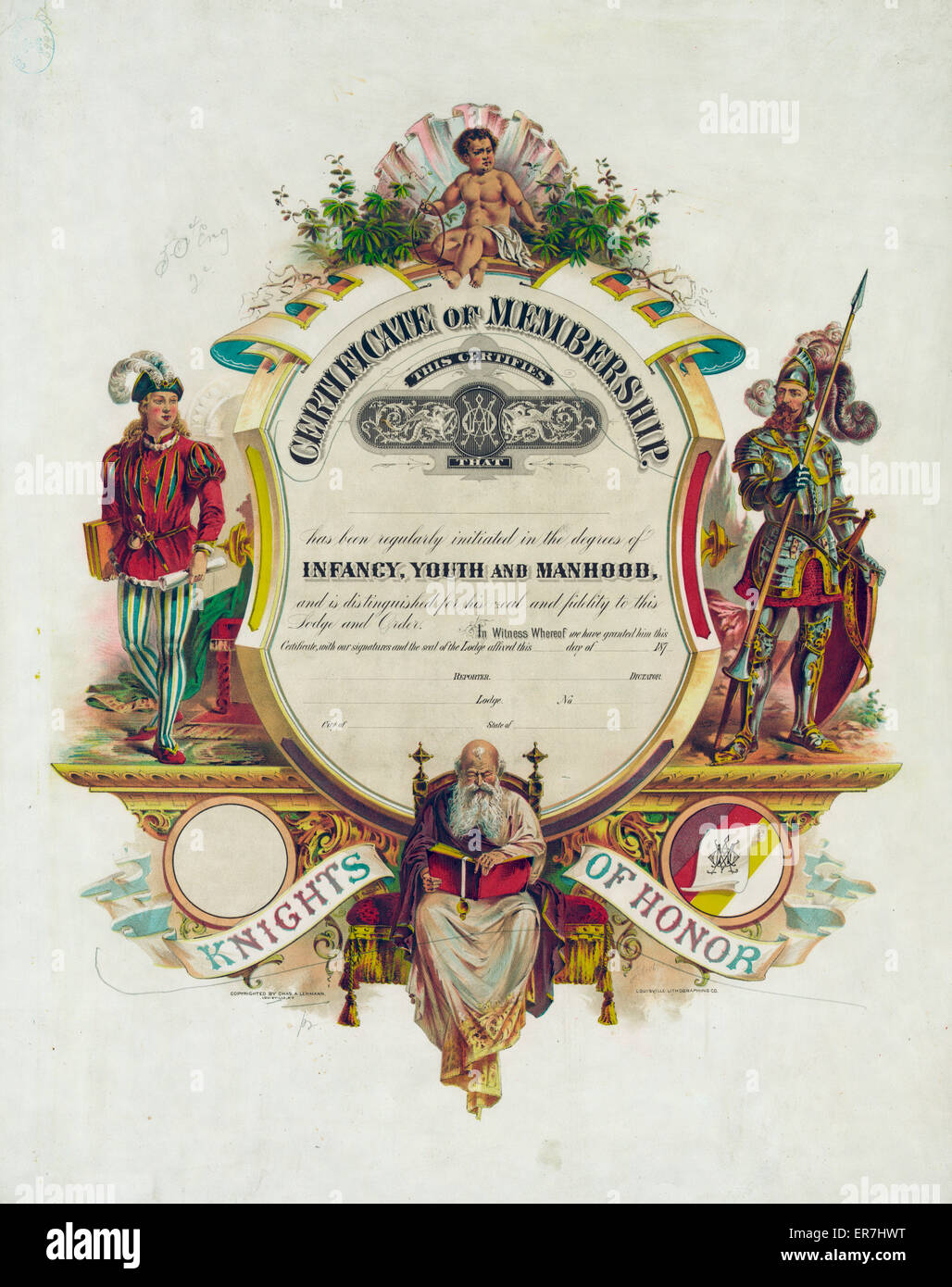 Knights of honor. Date c1878. - Stock Image