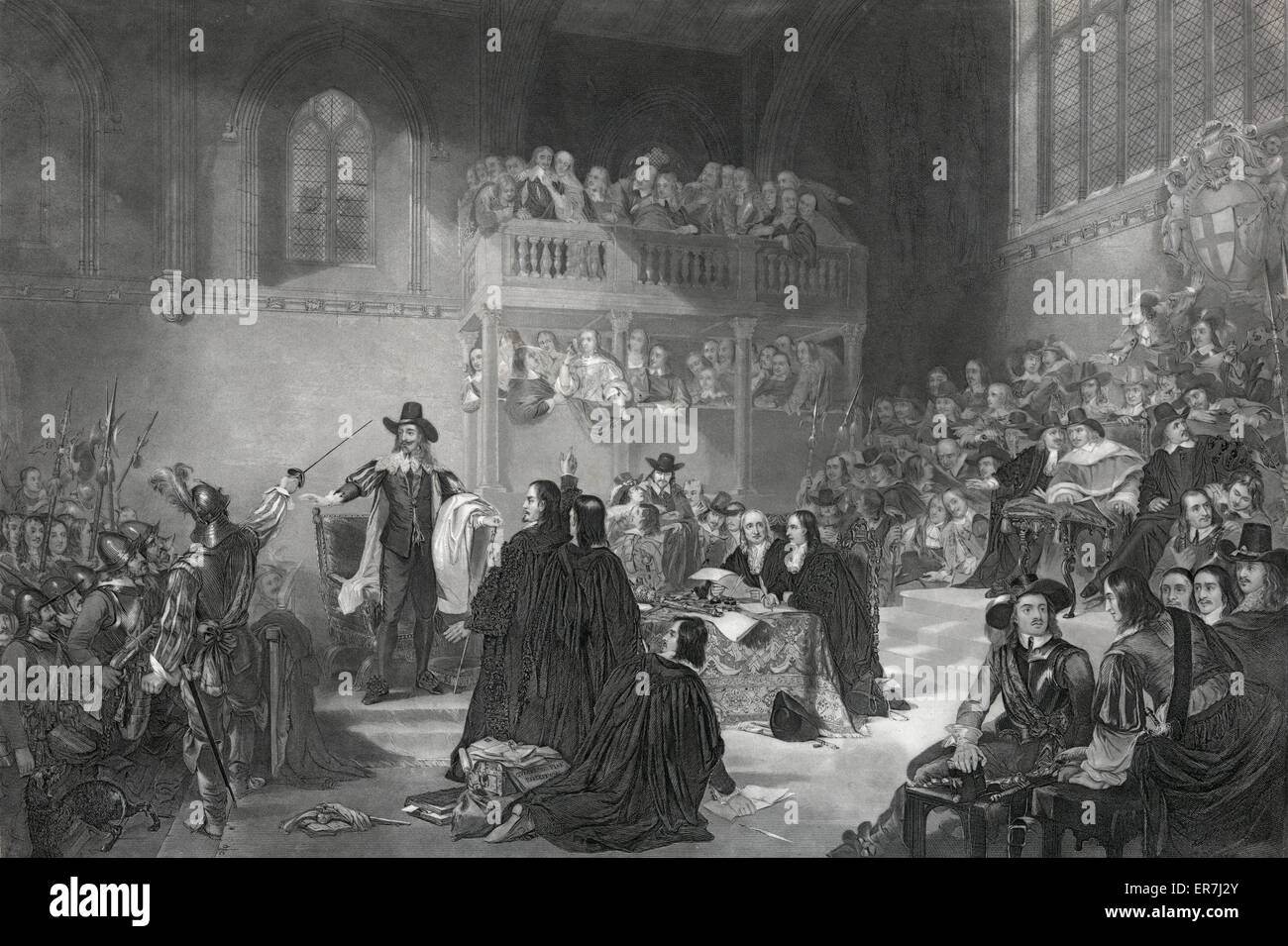 Trial of King Charles 1st in Westminster hall 1649. - Stock Image