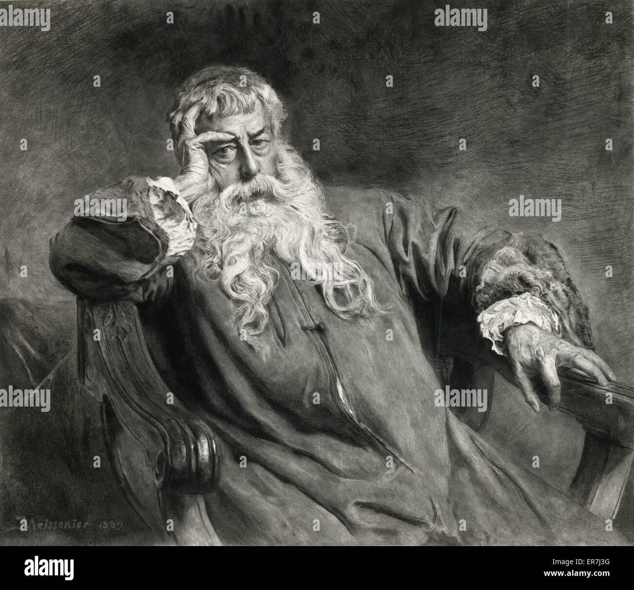 Self-Portrait of J.L.E. Meissonier. Date c1894 Nov. 20. - Stock Image