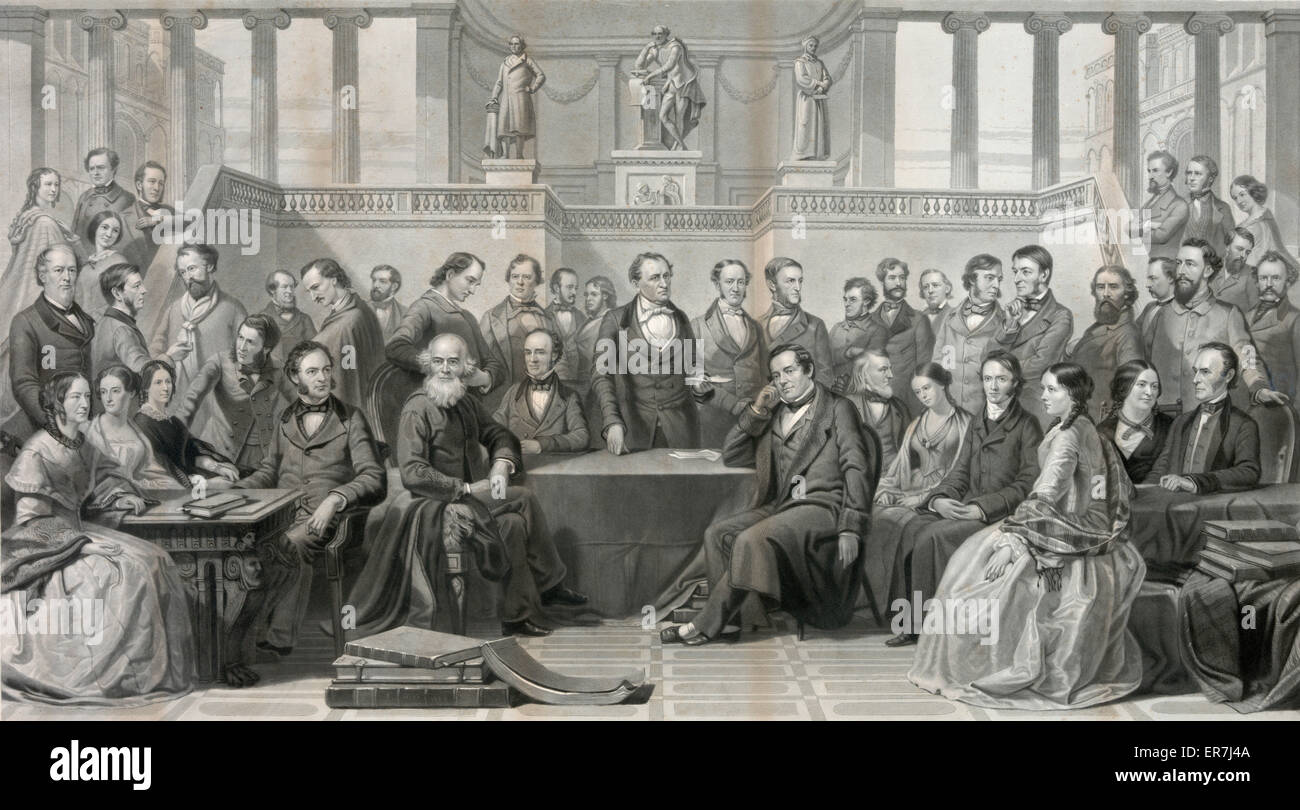 Authors of the United States. Date c1866. - Stock Image