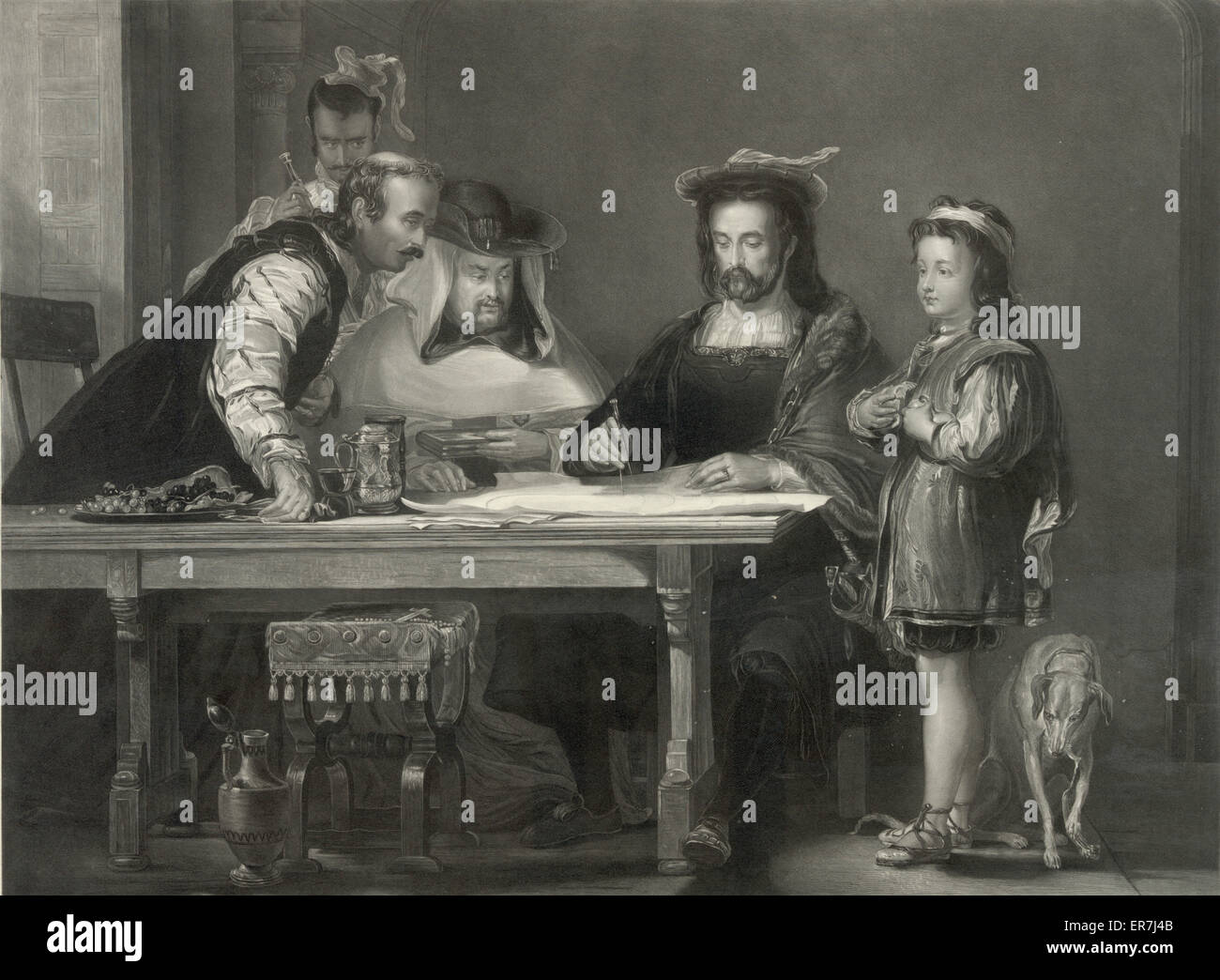 Columbus propounding his theory of a New World. - Stock Image
