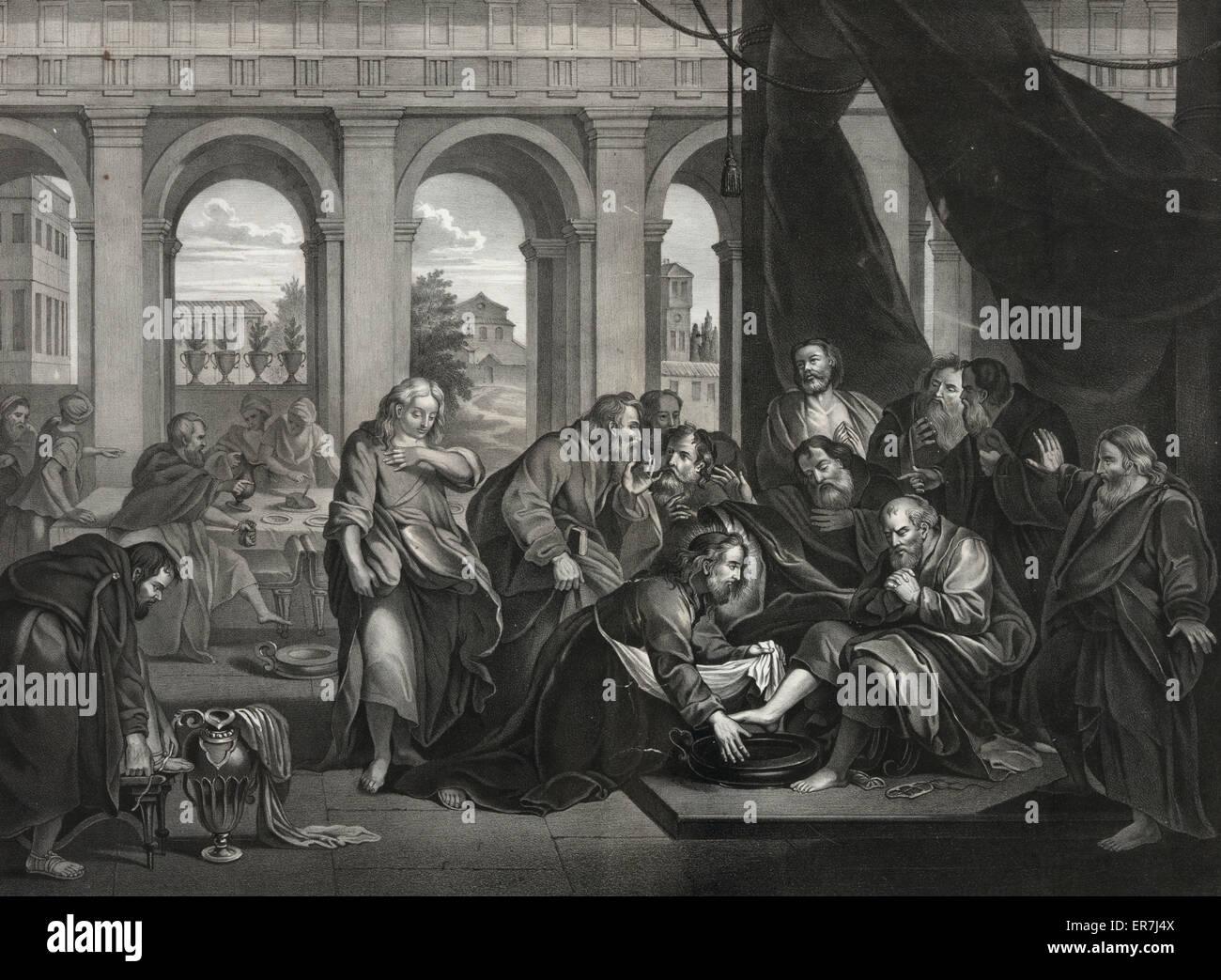 Jesus washing his apostles feet. Date c1870 Jul. 8. - Stock Image