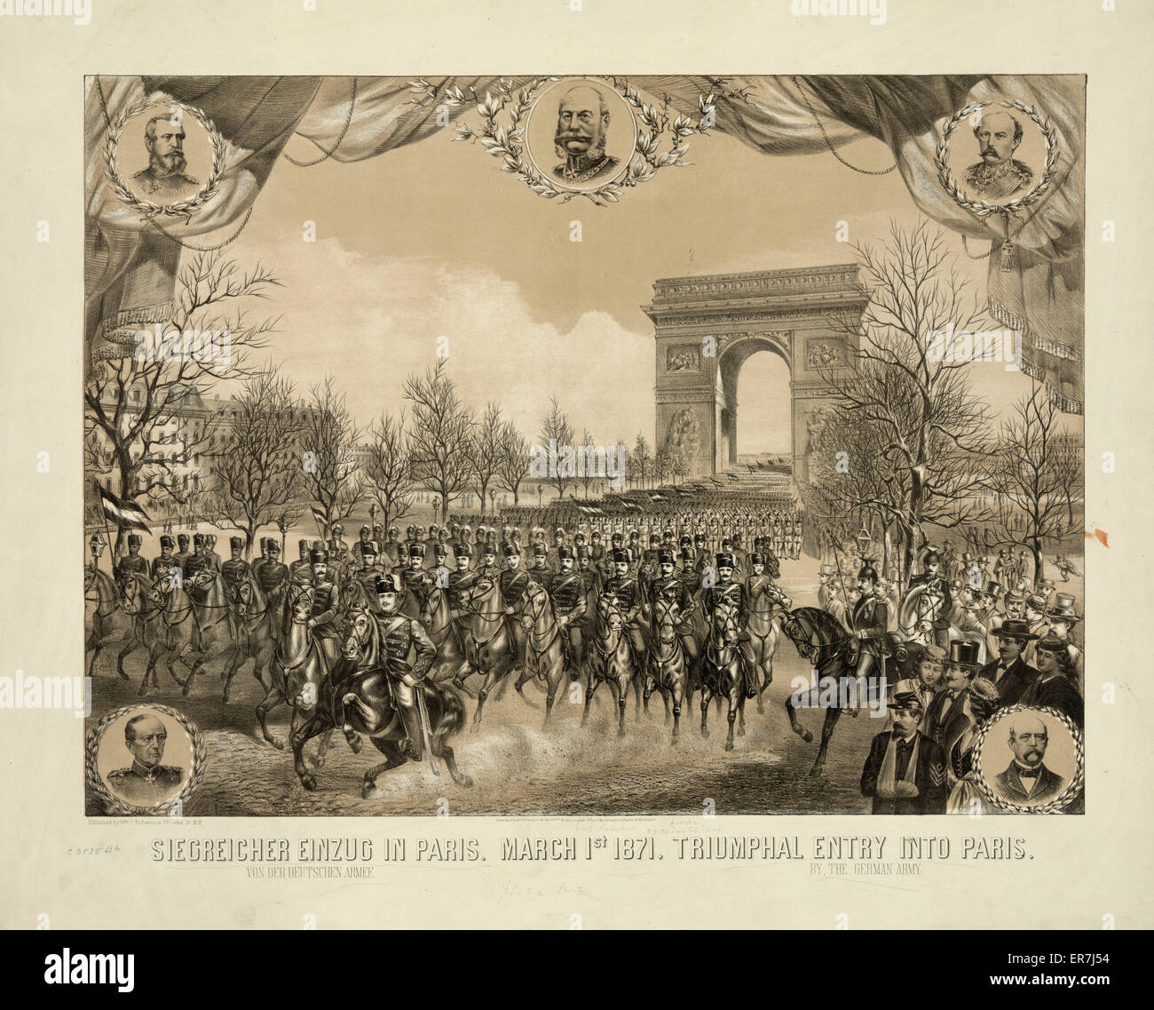 Triumphal entry into Paris., by the German army. Date c1871. - Stock Image
