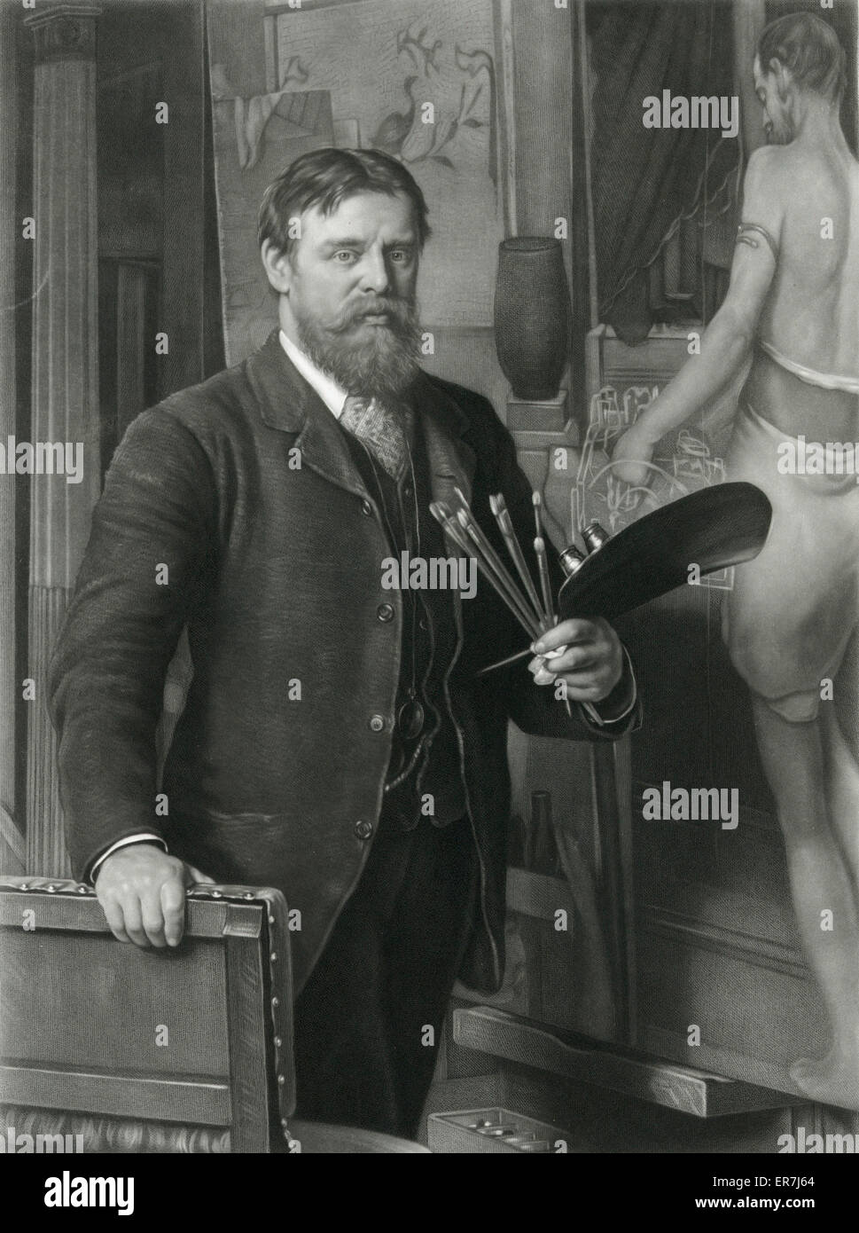 L Alma Tadema R.A. in his studio. Engraved by T L Atkinson. - Stock Image