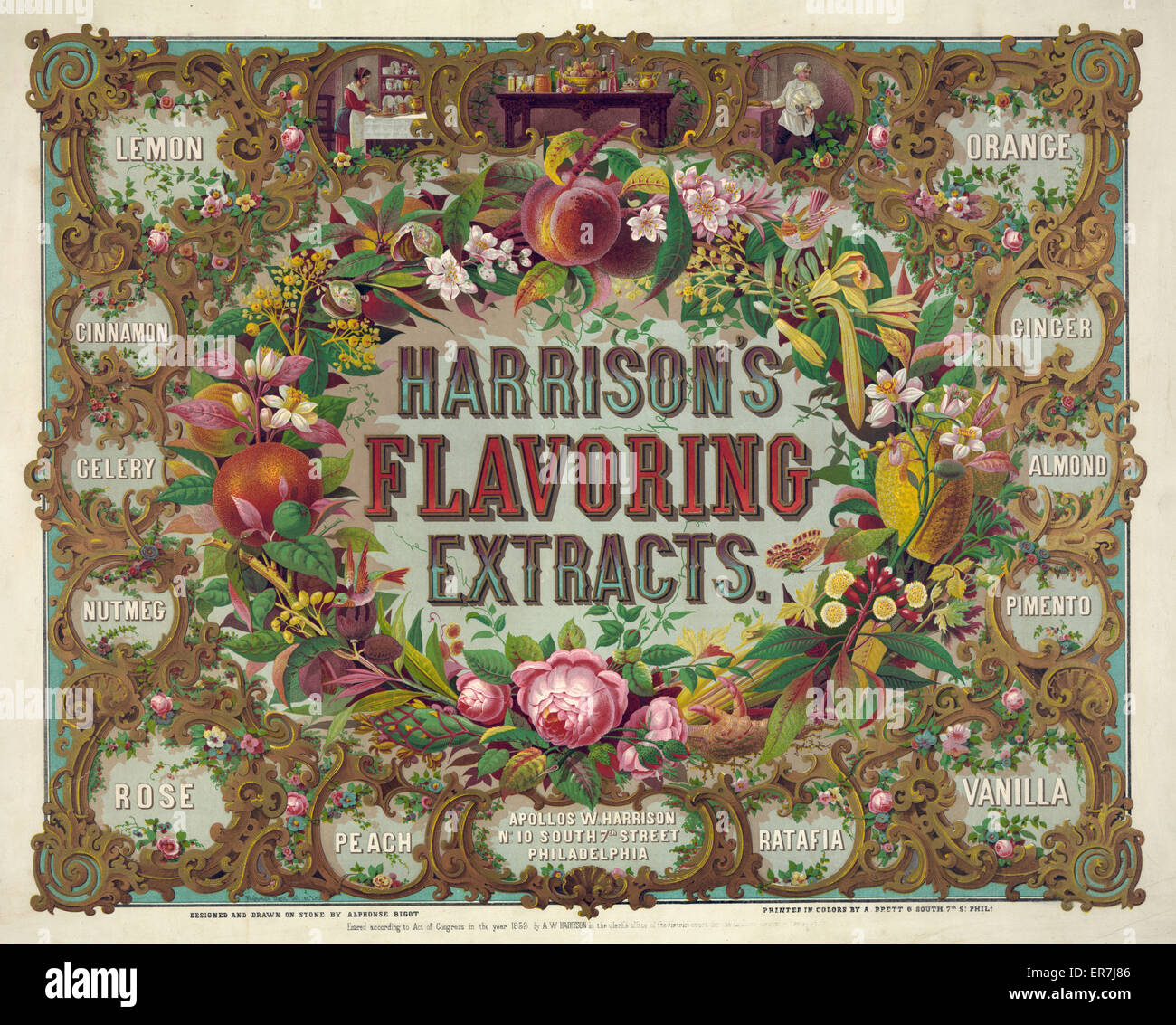 Harrison's flavoring extracts. Phila. Date c1868. - Stock Image