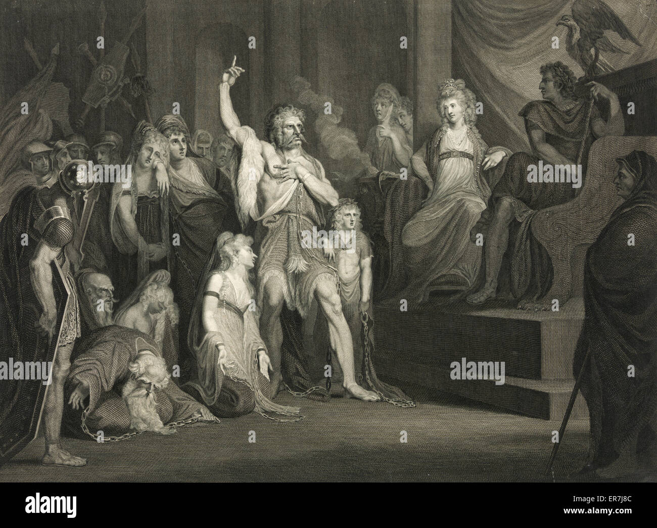 Caractacus at the Tribunal of Claudius at Rome. Published 1792. - Stock Image