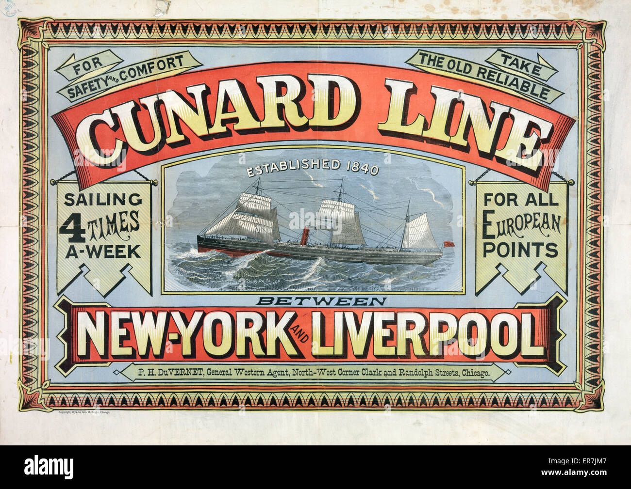 For safety and comfort take the old reliable Cunard line. Date c1875 Jan. 22. - Stock Image