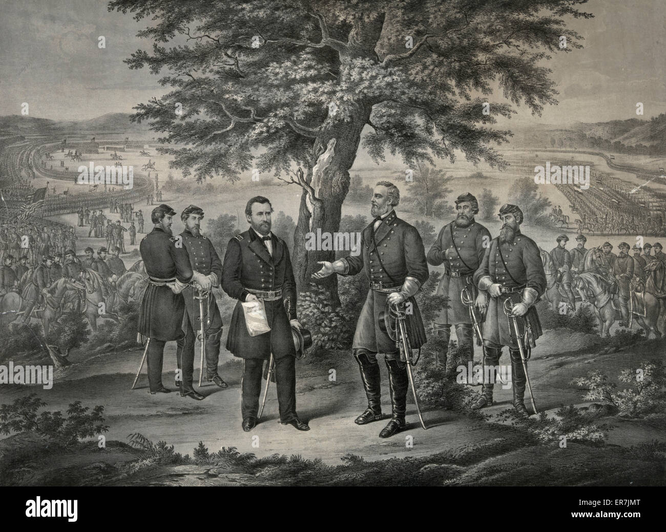 The surrender of General Lee and his entire Army to Lieut. General Grant April 9th 1865. Date c1865. - Stock Image