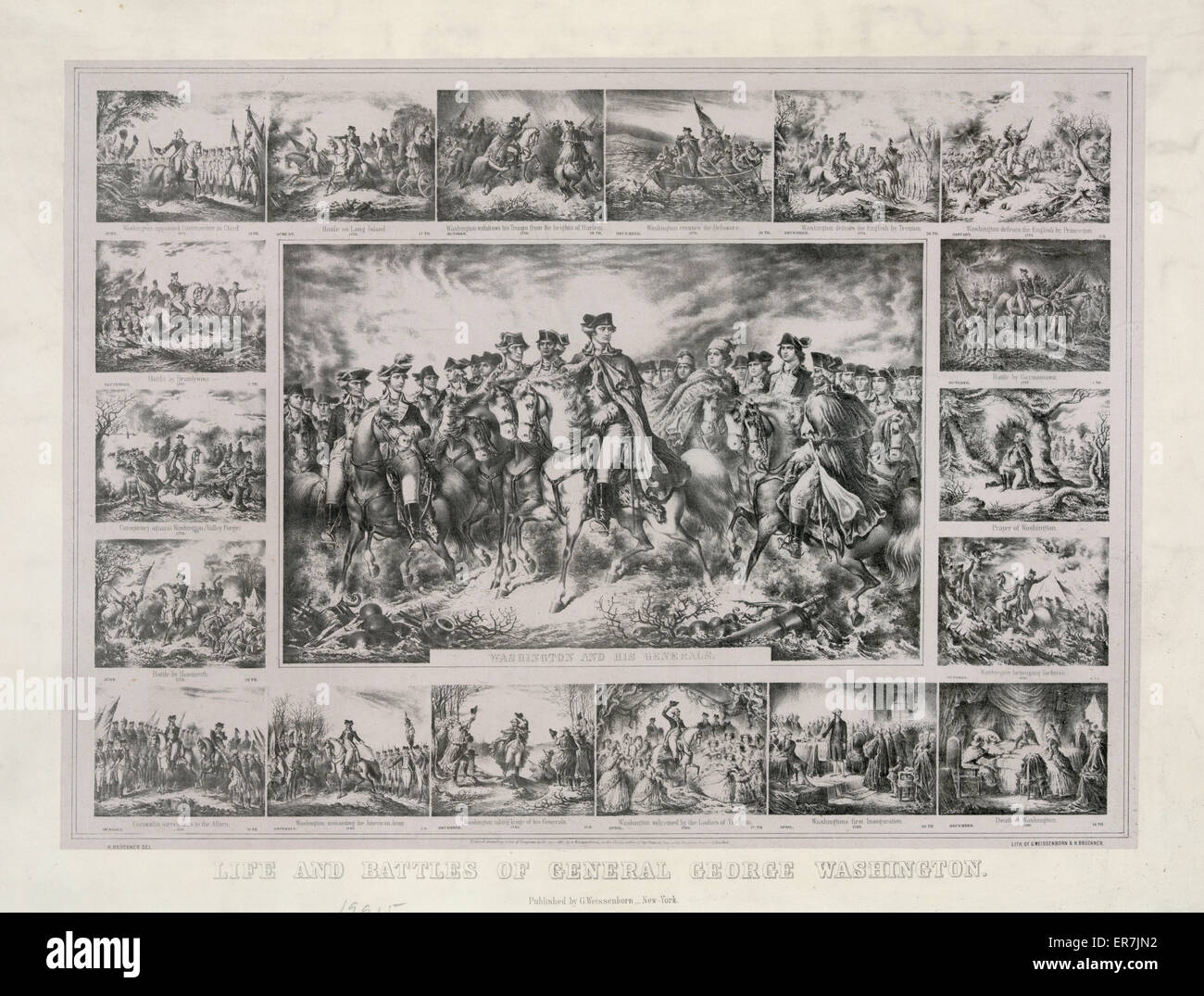 Life and battles of General George Washington. Date c1861 May 8. - Stock Image