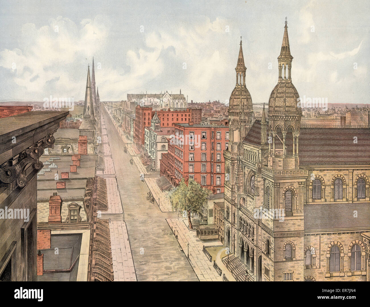 Fifth avenue from 42nd street, looking north. Published 1904. - Stock Image