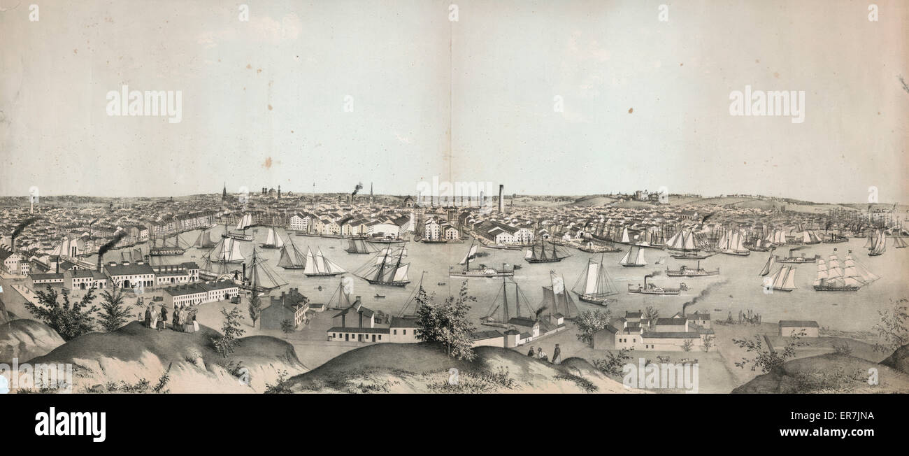 View of Baltimore, Md. from Federal Hill. Date c1847. - Stock Image