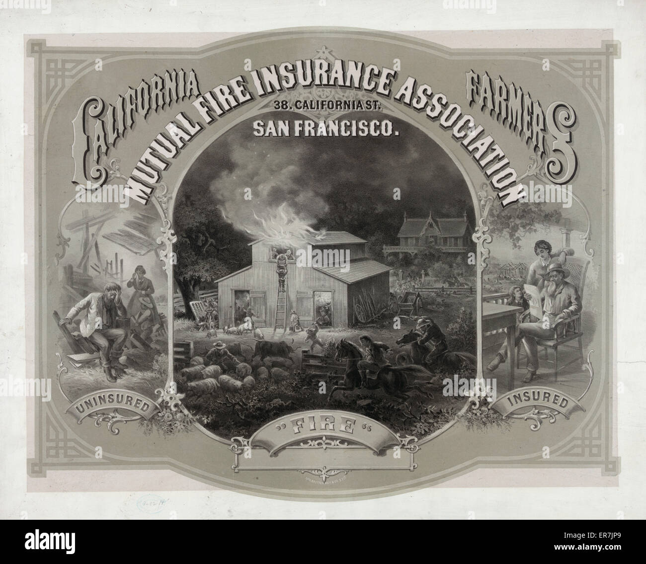 California Farmers Mutual Fire Insurance Association. Date 1877. - Stock Image