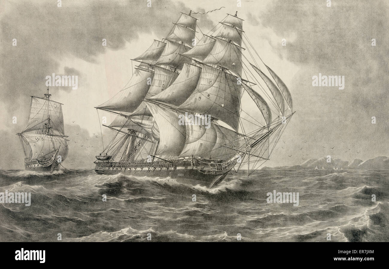 U.S.S. Constitution towing the H.B.M. ship Cyane captured February 28th 1815. Date c1919. - Stock Image