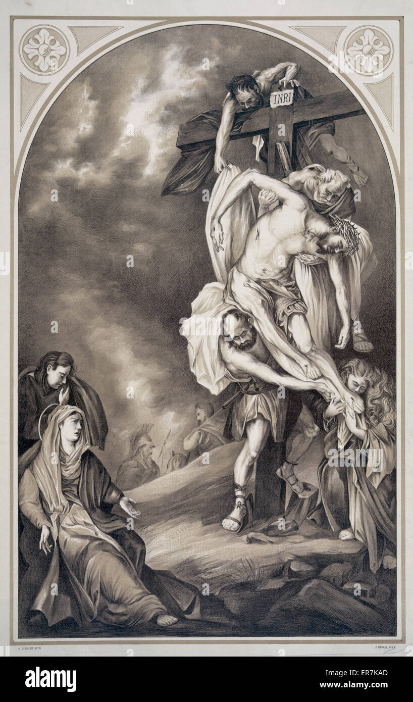 Descent from the cross. Date c1895 Oct. 4. - Stock Image