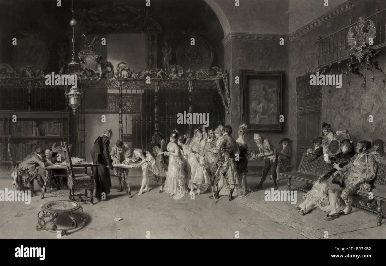 Un mariage espagnol. Date c1876. - Stock Image