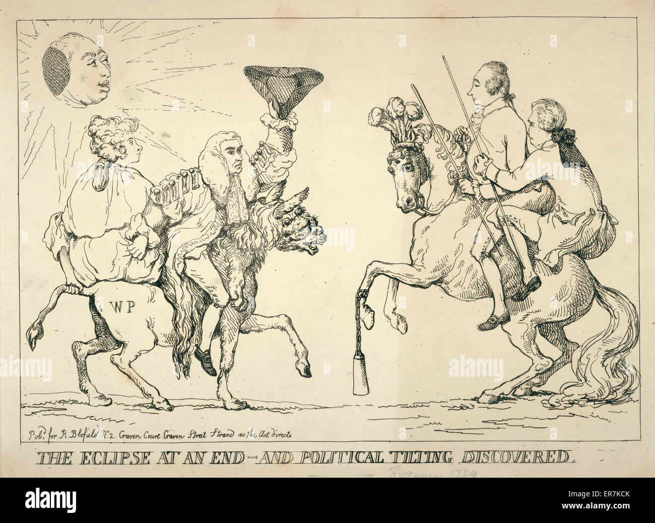 The eclipse at an end - and political tilting discovered. Print shows Edward Thurlow and a woman, possibly Queen - Stock Image