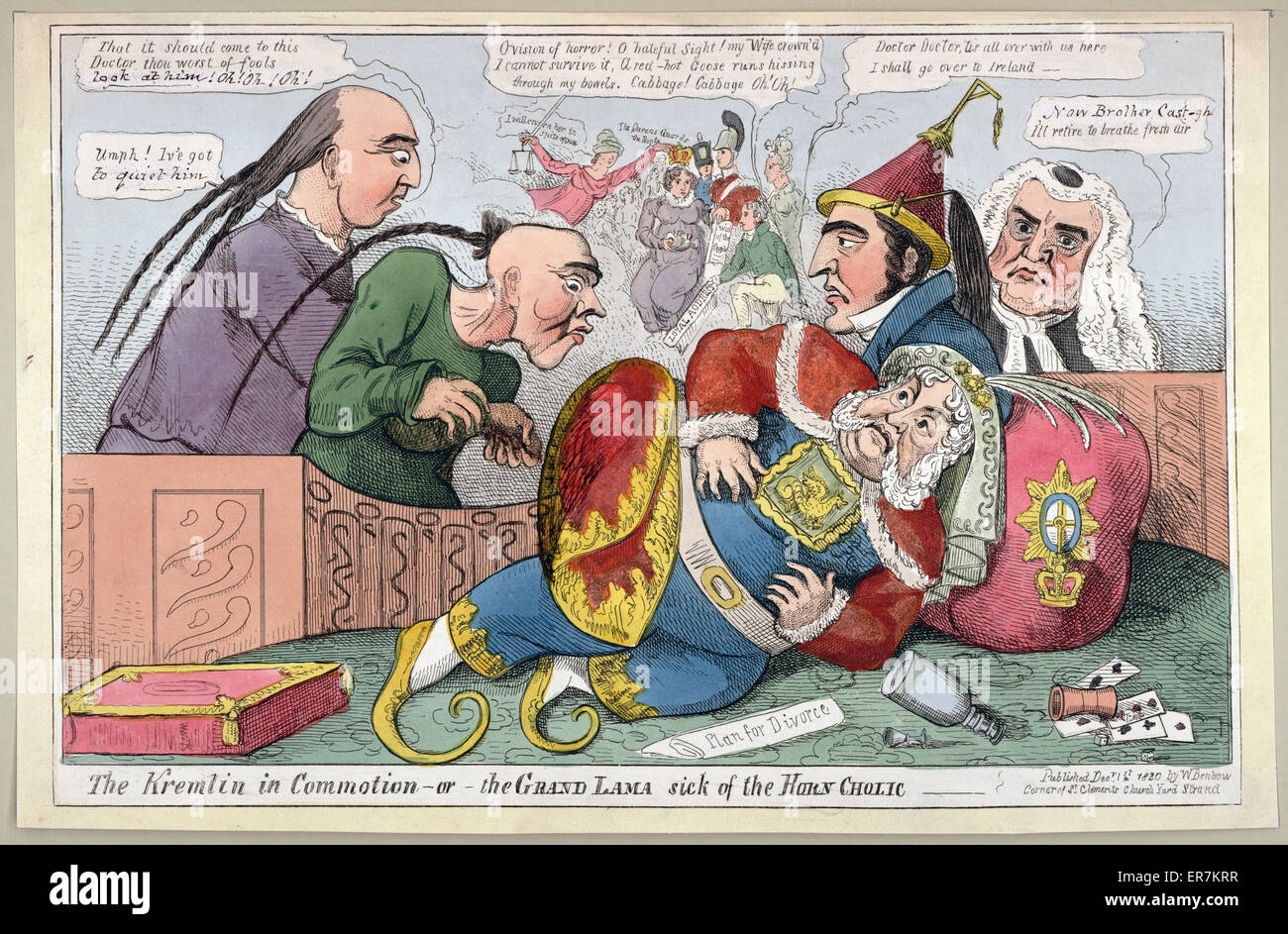 The Kremlin in commotion - or - the Grand Lama sick of the horn cholic. Print shows King George IV fallen to the - Stock Image