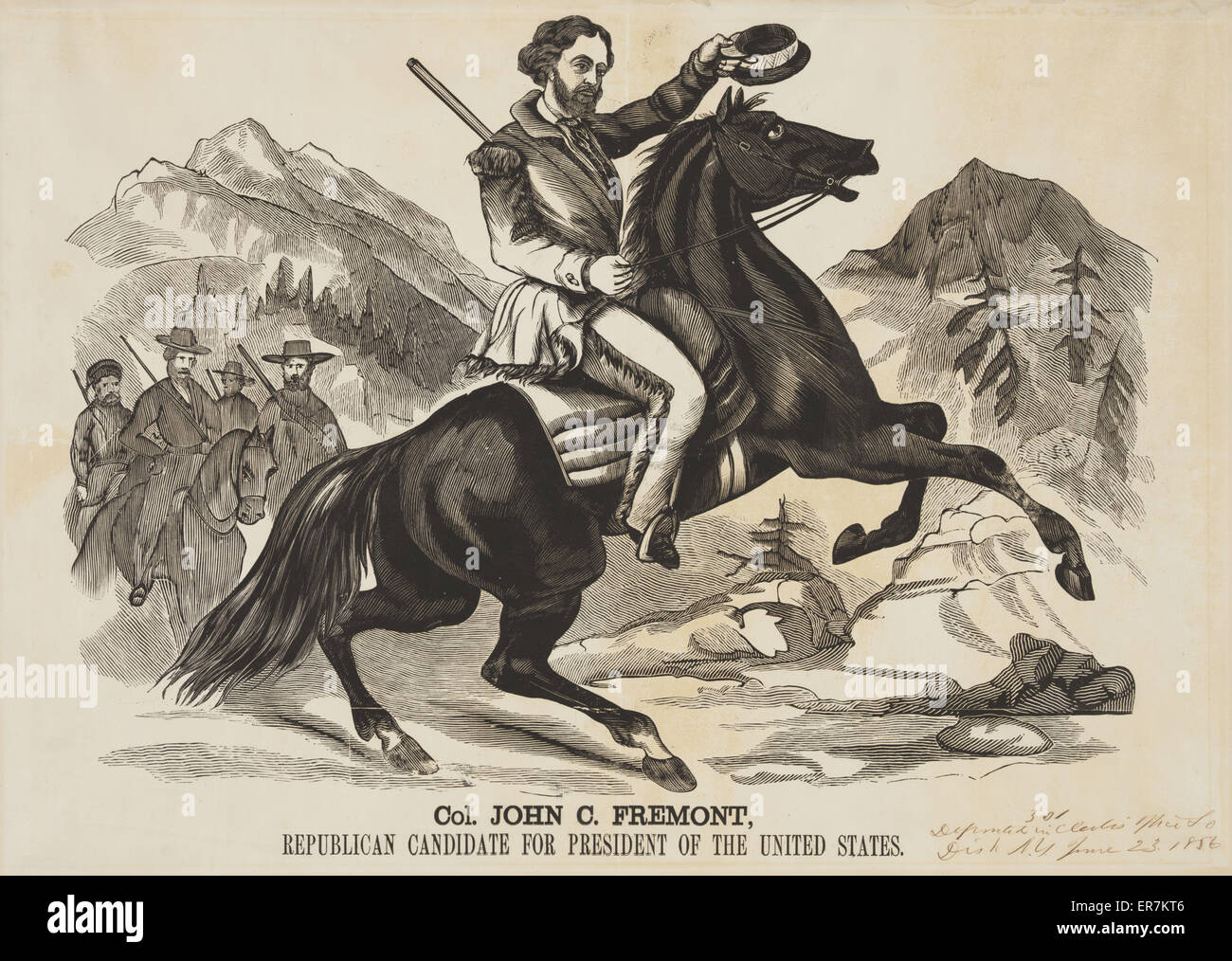 Col. John C. Fremont, Republican candidate for the President of the United States. Proof for a large woodcut banner - Stock Image