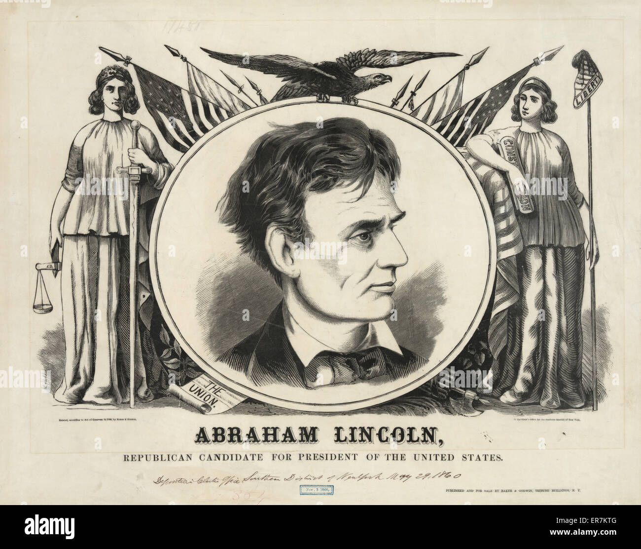 Abraham Lincoln, Republican candidate for president of the United States. A print for a large campaign banner or - Stock Image