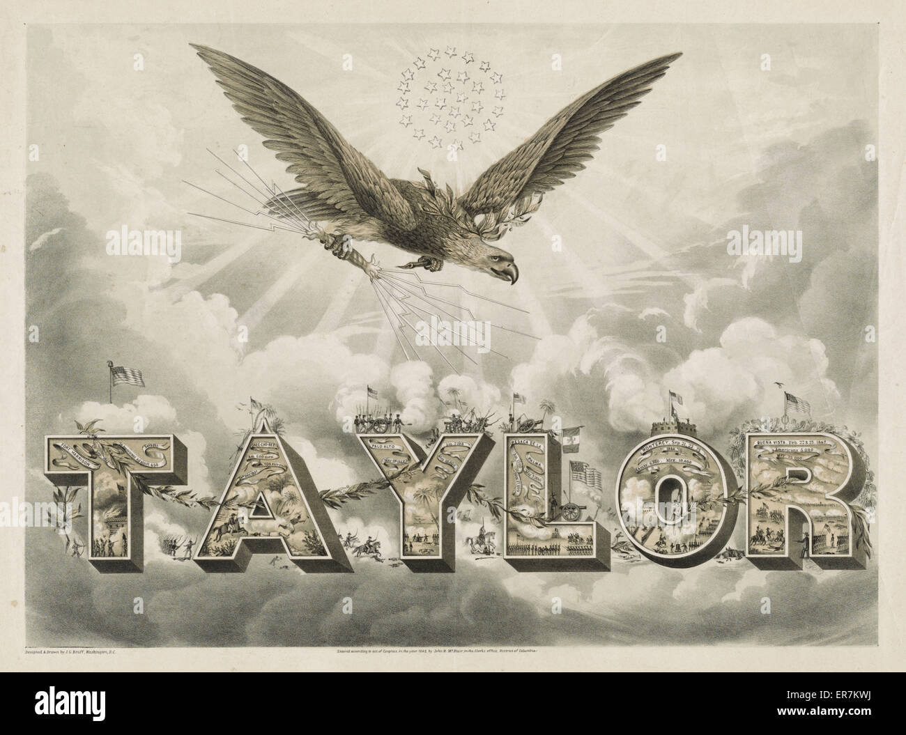 Taylor. A campaign print, grandiose in design and imagery, for Whig presidential candidate Zachary Taylor. A corona - Stock Image