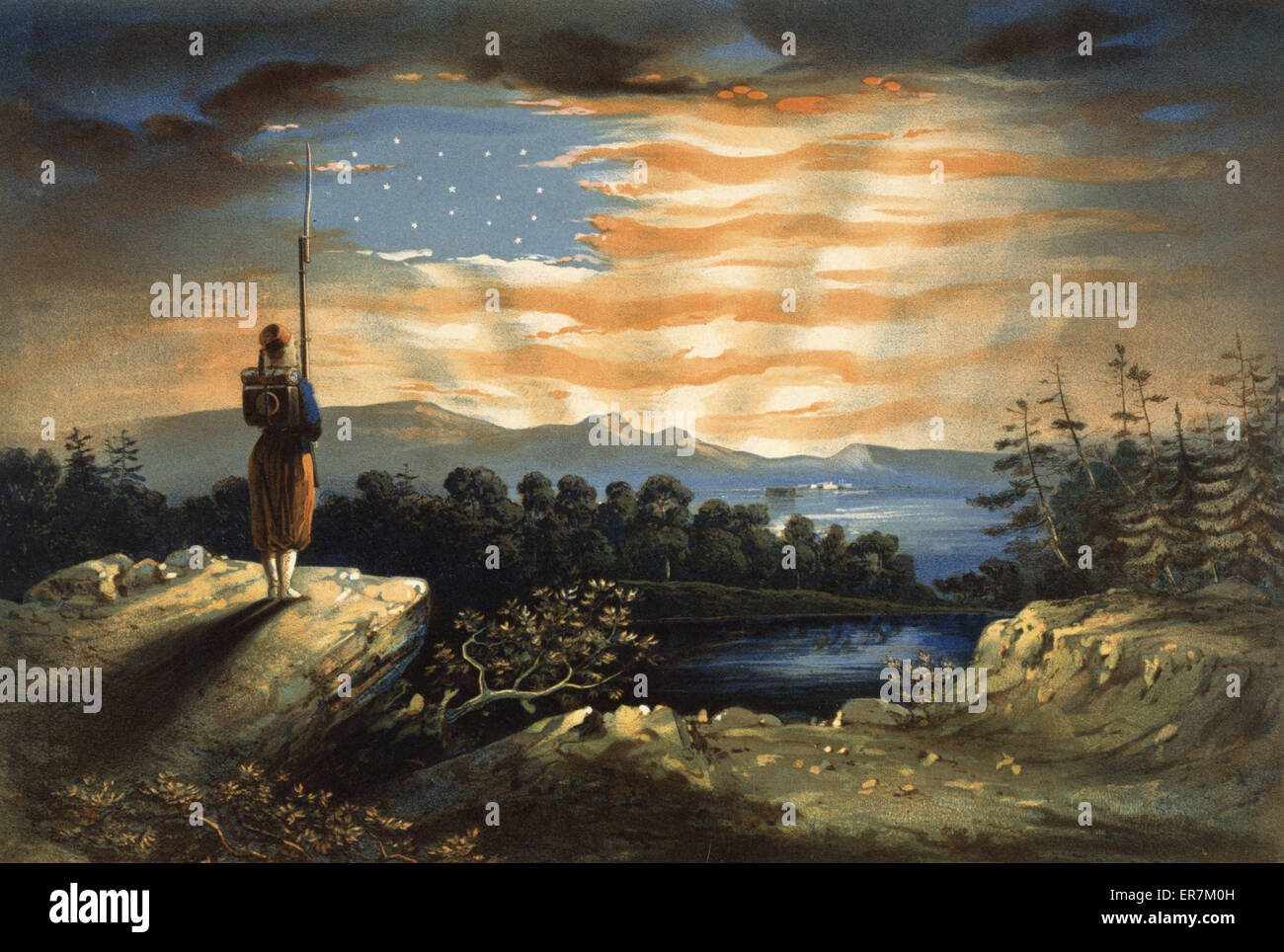 Our heaven born banner. A pro-Union patriotic print, evidently based on Frederic Edwin Church's small oil painting - Stock Image