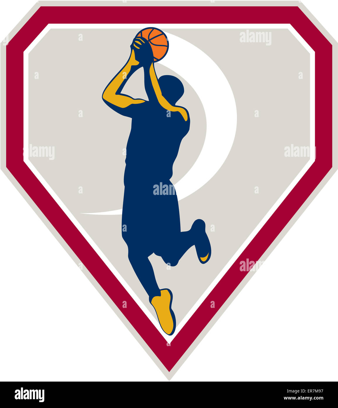 Illustration of a basketball player jump shot jumper shooting jumping set inside shield crest on isolated background - Stock Image