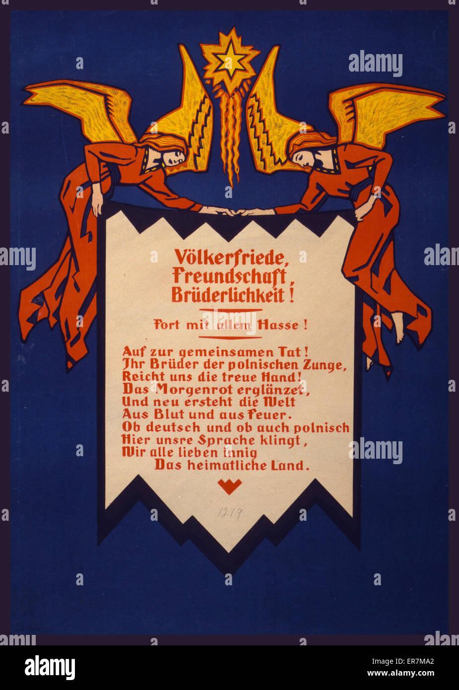 Volkerfriede, Freundschaft, Bruderlichkeit! Fort mit allem Hasse!  Poster shows two angels holding a banner which - Stock Image