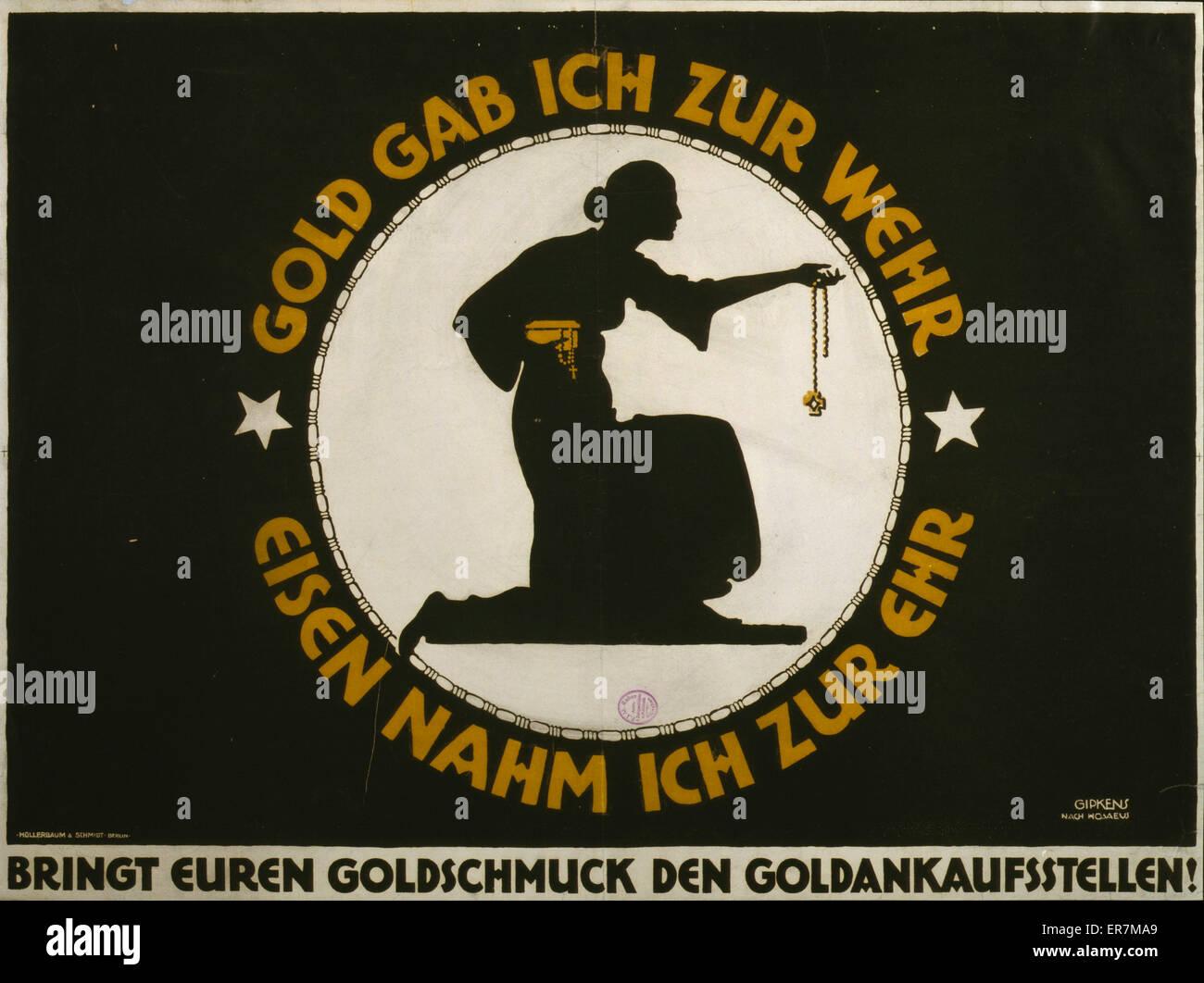Gold gab ich zur Wehr, Eisen nahm ich zur Ehr  Poster shows silhouette of a kneeling woman (probably modeled on - Stock Image