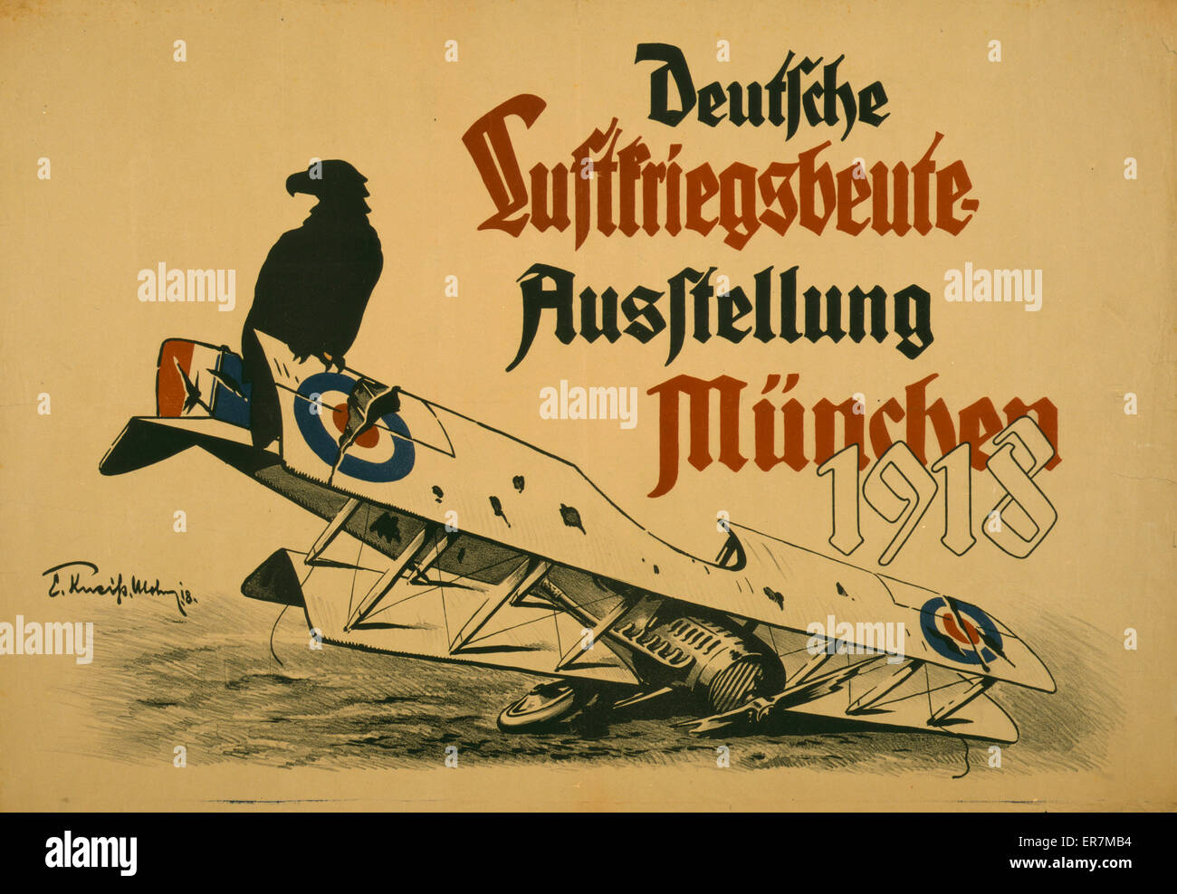 Deutsche Luftskriegsbeute Ausstellung Munchen 1918. Poster shows a black eagle sitting on the wing of a downed British - Stock Image