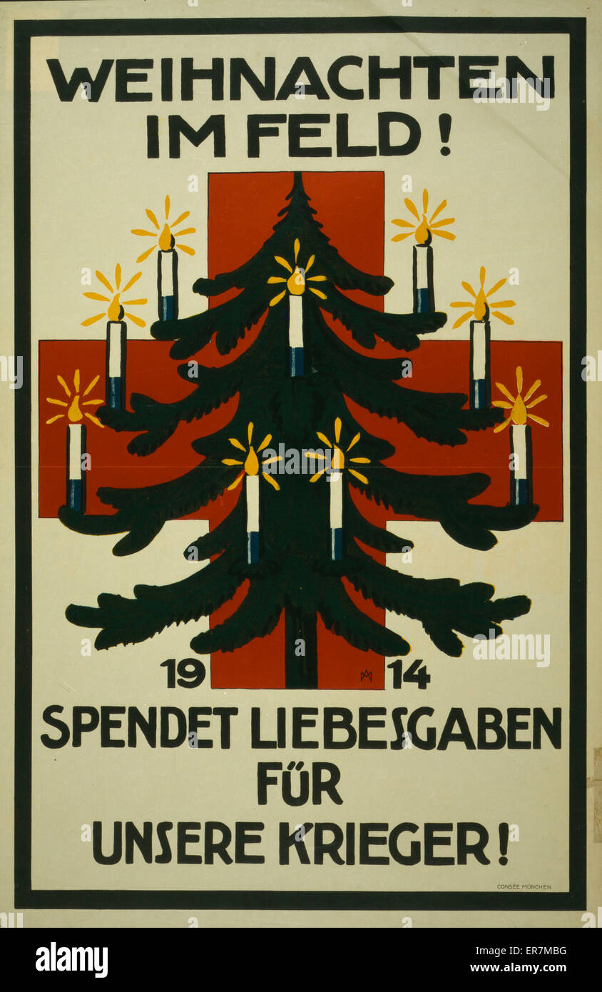 poster shows a christmas tree decorated with candles in front of a red cross text christmas in the field 1914 donate gift packages