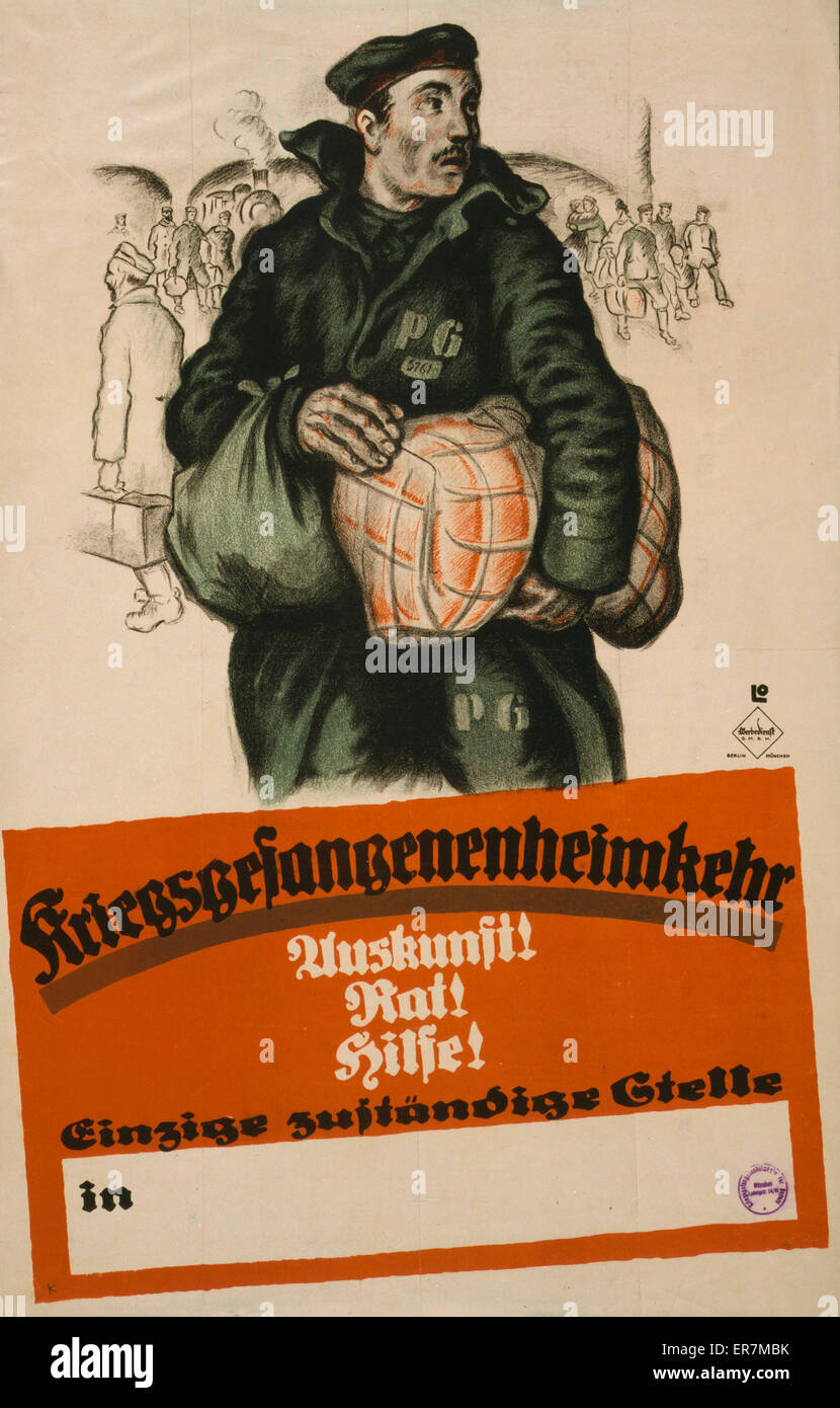 Kriegsgefangenenheimkehr. Auskunft! Rat! Hilfe!. Poster shows a returning German prisoner of war, clutching his - Stock Image