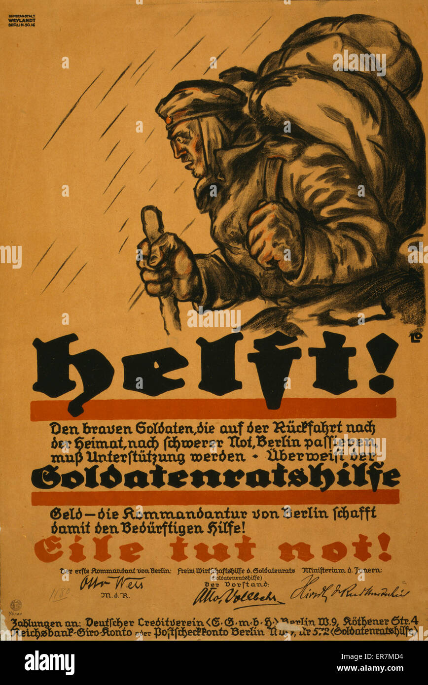 Helft!  Soldatenratshilfe  eile tut not!. Poster shows a desperate-looking German soldier bundled against the cold, - Stock Image