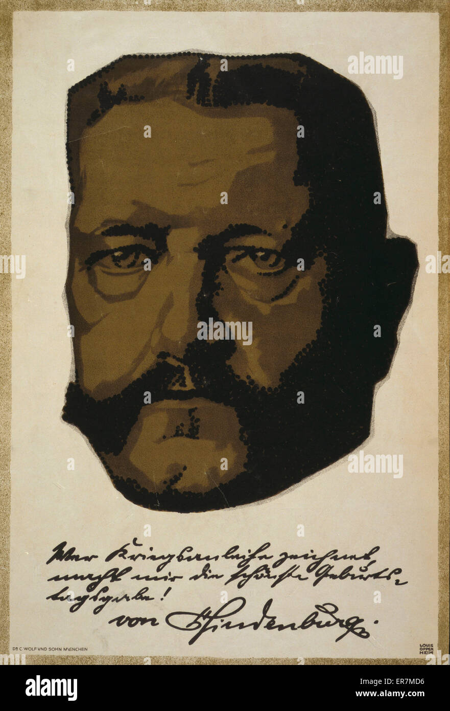 Portrait of General Field Marshall Paul von Hindenburg. Text is a quote written in Hindenburg's own hand. Date - Stock Image