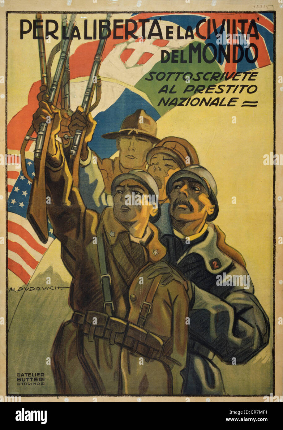 Per la liberte e la civilte del mondo. Poster shows soldiers from Italy, Great Britain, France and the United States - Stock Image