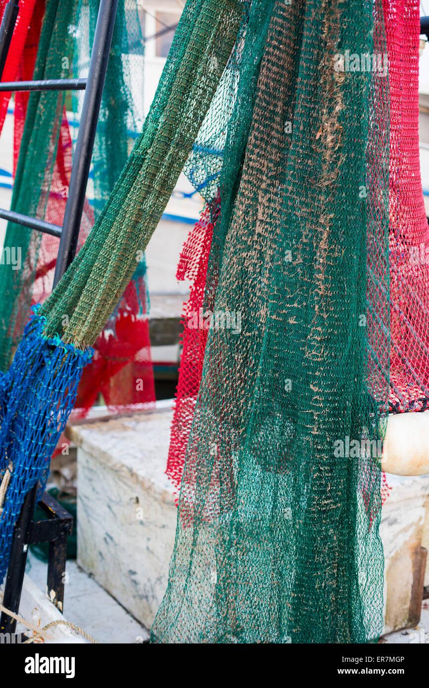 Apalachicola, Florida - Nets on a shrimp boat. - Stock Image