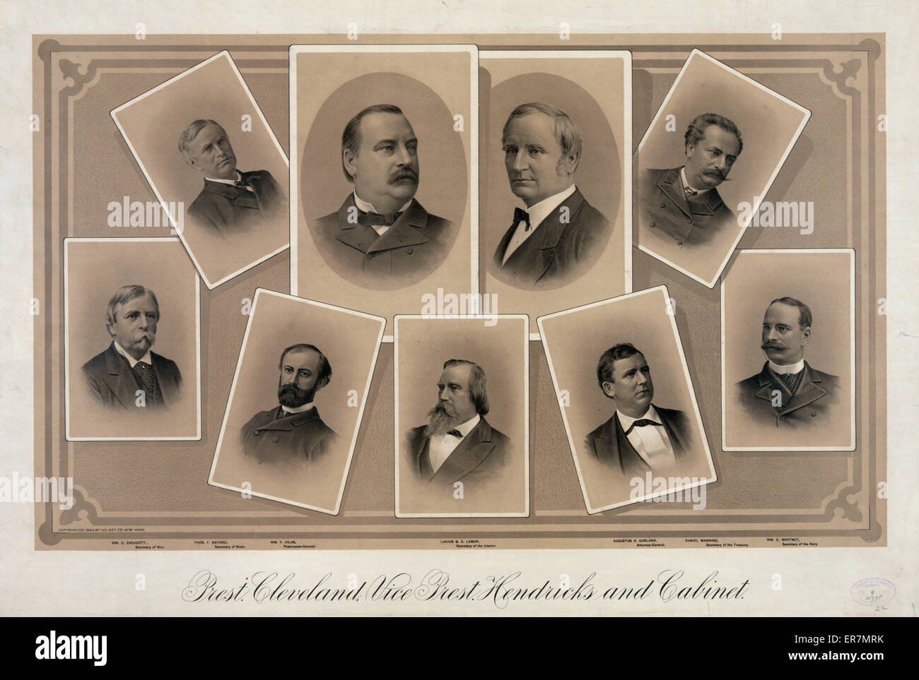 Prest. Cleveland, Vice Prest. Hendricks and cabinet. Date 1885 Jul. 9. - Stock Image