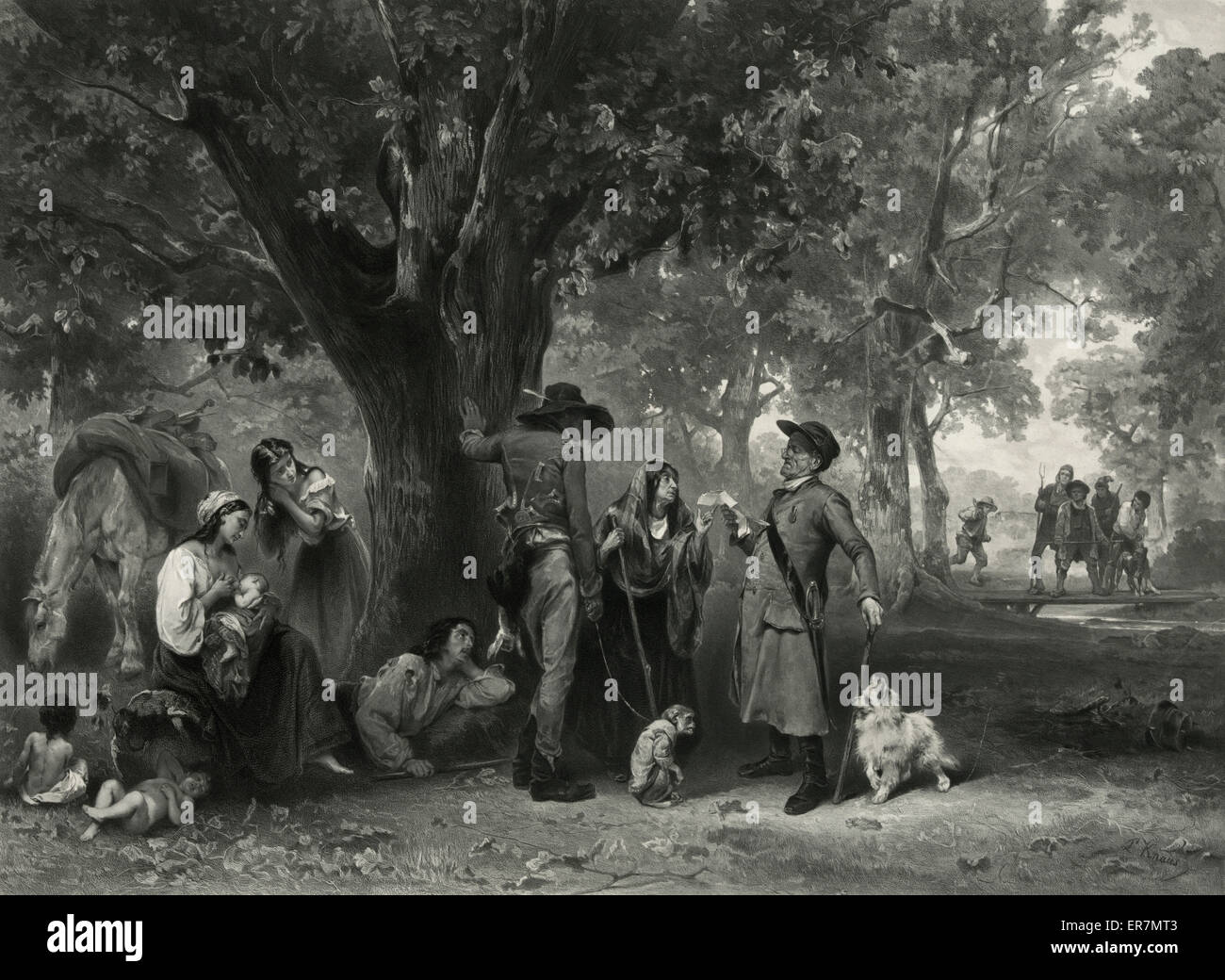 Un campement de Bohemiens. - Stock Image