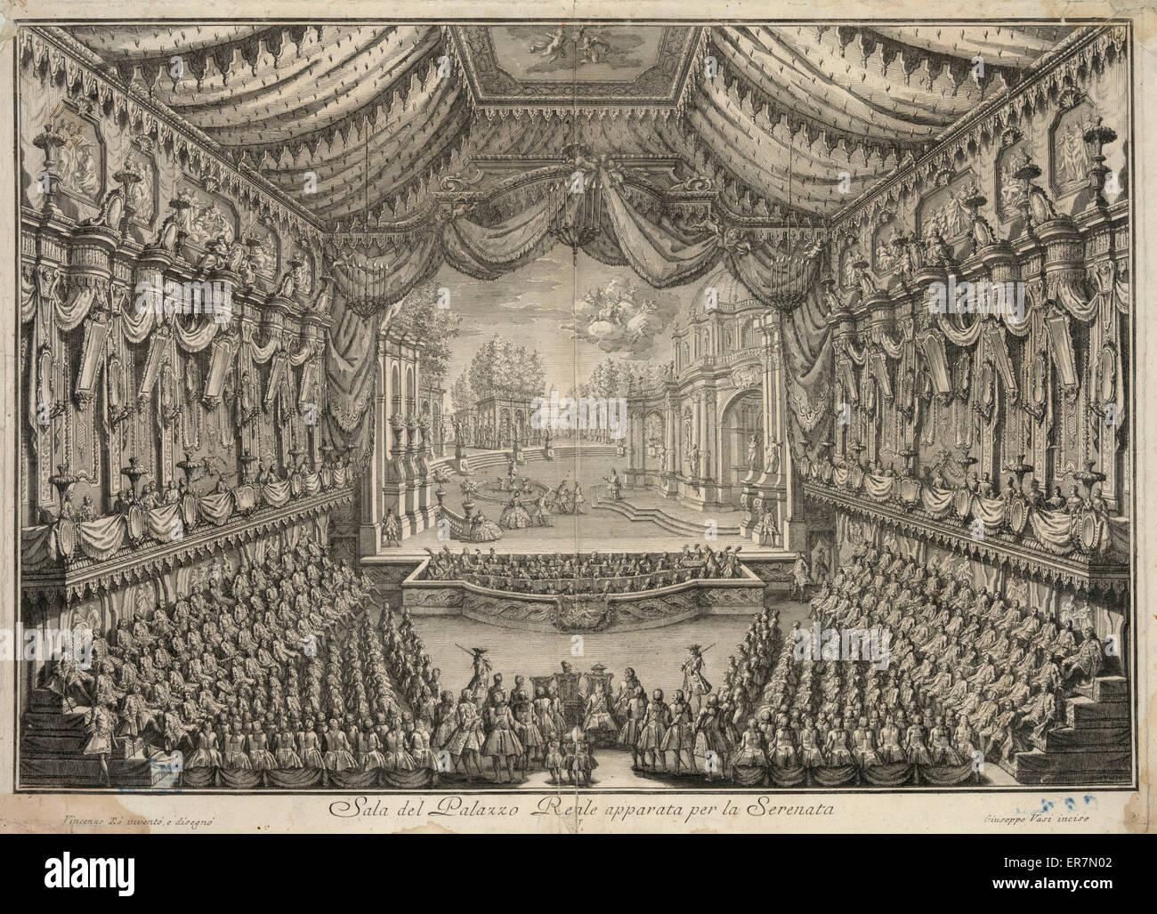 Sala del Palazzo Reale apparata per la Serenata. - Stock Image